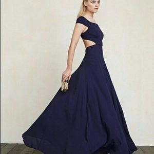 Reformation Navy Blue Sera backless gown Dress